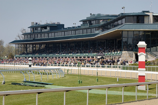 Stock image of thoroughbred horse racing at the spring meet at the Keeneland track in Lexington Kentucky USA