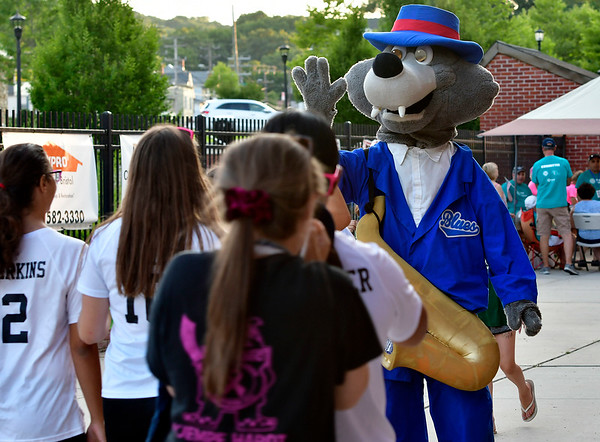 8/1/2019 MIke Orazzi | Staff The Bristol Blues Mascot BB during Thursday evening's game at Muzzy Field in Bristol.