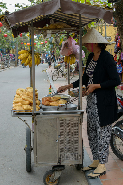 Delicious food is available on the streets.