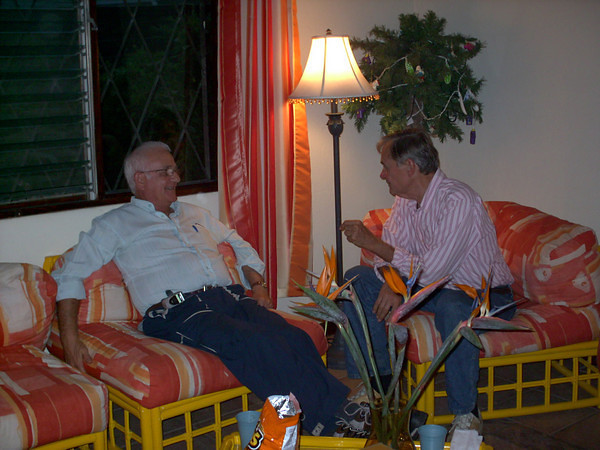 Gene chatting with a close friend Tom