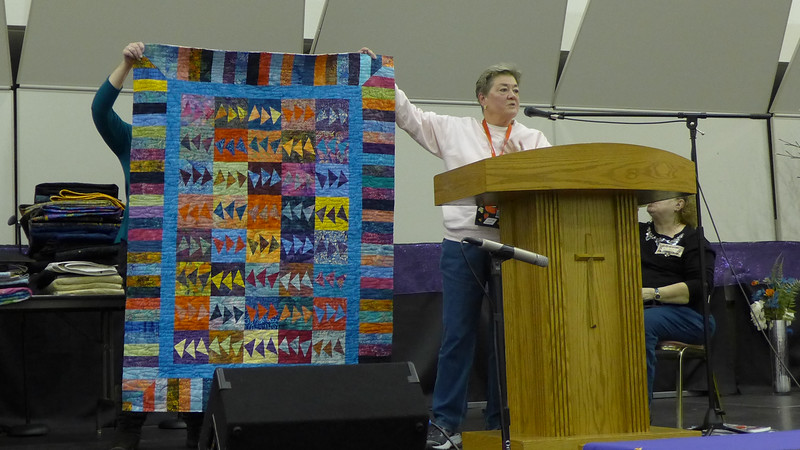 Jan Asmann also made this quilt.  She attended a class and all the fabrics were given to her.