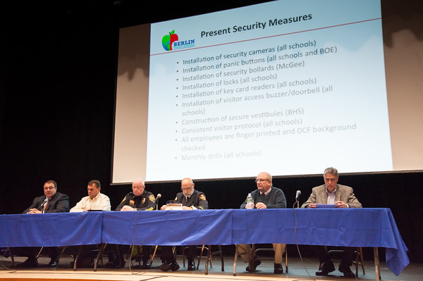 03/19/18 Wesley Bunnell   Staff Berlin held a school security safety meeting on Monday night at Berlin High School which was open to the public. Representatives from the town, police and fire departments gave an overview of their current responsibilities as well as planned changes while later answering questions from the audience. Board of Education Superintendent Brian Benigni, Board of Education President Matthew Tencza, Police Chief John Klett, Deputy Fire Marshal/Director of Emergency Management Matt Odishoo, Town Manager Jack Healy and Mayor Mark Kaczynski.