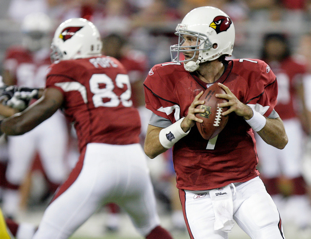 . Matt Leinart, USC Selected 10th overall by the Cardinals in 2006 Leinart started more games at quarterback his rookie year in Arizona (11) than he has in six seasons since (seven). The lefty quarterback is 8-10 as a starter, and has thrown just one touchdown since 2009. GRADE: F. When the image most associated with you involves a hot tub, you better not be an NFL quarterback. (AP Photo/Paul Connors, File)