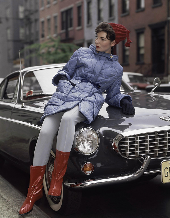 . Blue with red hat and shoes fashion skiing coats in 1963. (AP Photo)