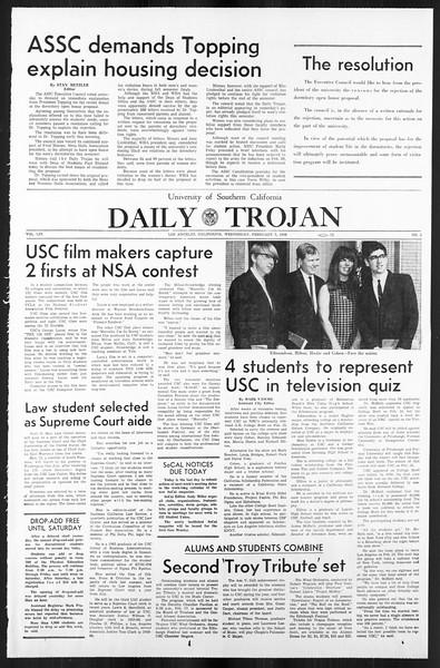 Daily Trojan, Vol. 59, No. 65, February 07, 1968