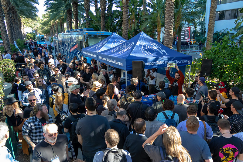2019_01_25, Anaheim, Bus, CA, Exterior, Gabe Smith, Giveaways, Mackie, Matt Reich, NAMM, Tents