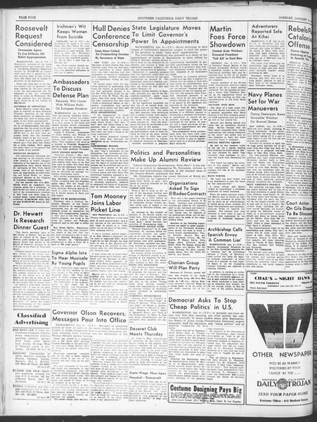 Daily Trojan, Vol. 30, No. 63, January 10, 1939