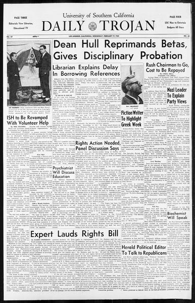 Daily Trojan, Vol. 55, No. 65, February 19, 1964