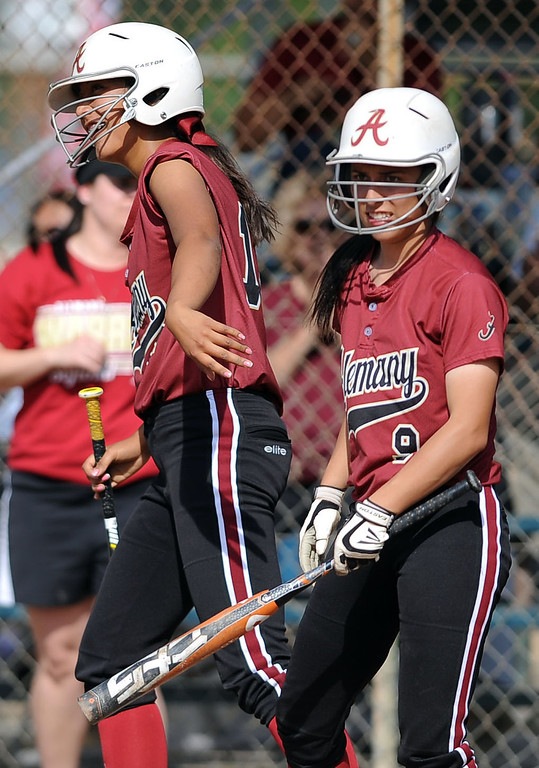 . Alemany defeats Notre Dame 5-4 during their Mission League softball showdown in Encino, CA April 8, 2014.(Andy Holzman/Los Angeles Daily News)