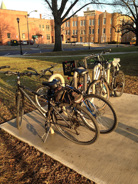 January 17, 2014. On this sunny winter day, the bike rack by the library was FULL!   (By summer time, we'll need more bike racks.)