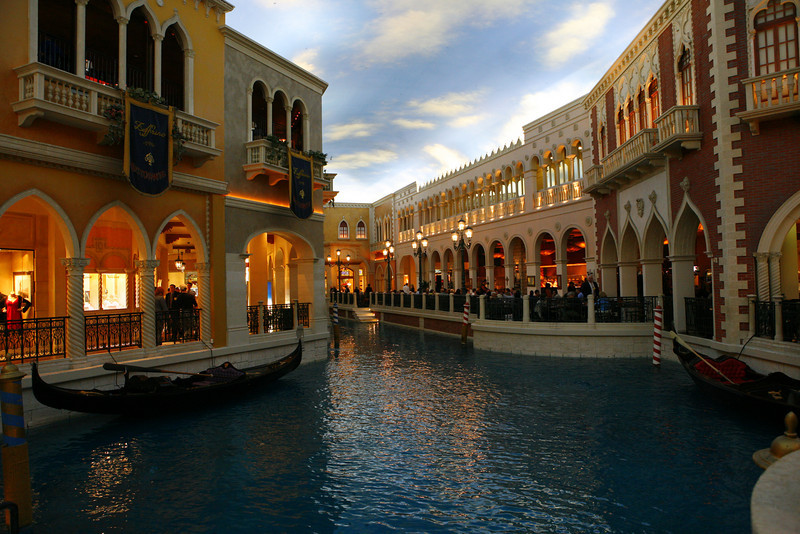 The canal inside of the Venetian Hotel in Las Vegas, NV