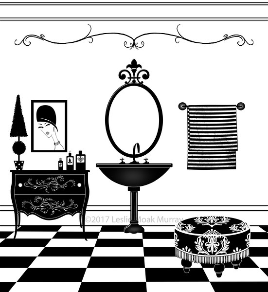 Cute Black and White Bathroom With Pedestal Sink