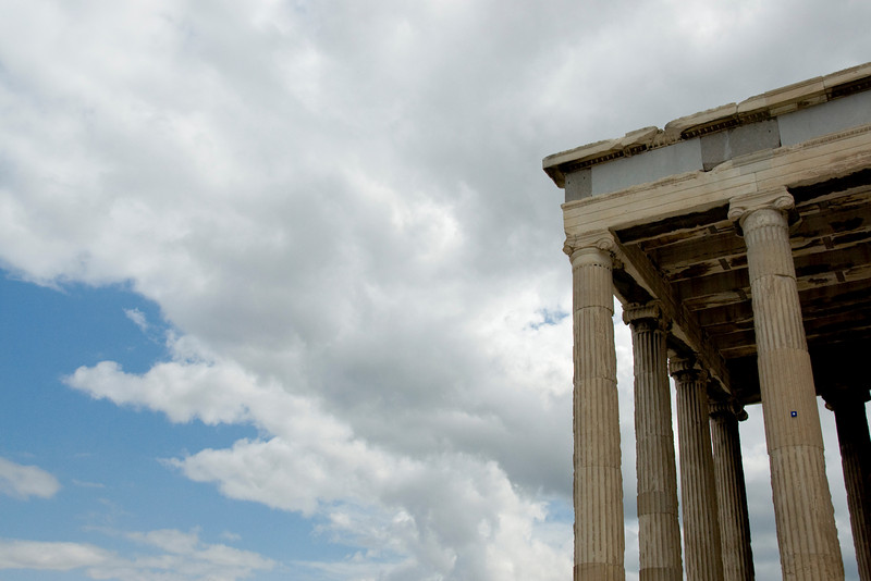 The pillars of the Acropolis of Athens against the clouds - Greece
