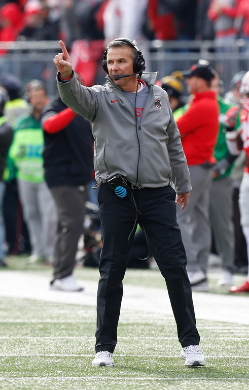 . Ohio State head coach Urban Meyer shouts to his team against Michigan State during the first half of an NCAA college football game Saturday, Nov. 11, 2017, in Columbus, Ohio. (AP Photo/Jay LaPrete)