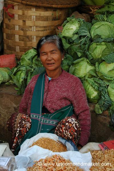 Dried Shrimp and Cabbage, Mann Thida Market - Mandalay, Burma