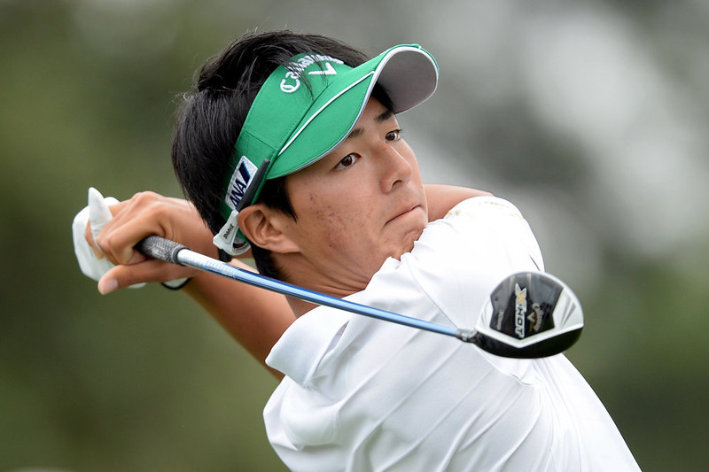. Ryo Ishikawa of Japan hits a tee shot on the 10th hole during the final round of the 2013 Masters Tournament at Augusta National Golf Club on April 14, 2013 in Augusta, Georgia.  (Photo by Harry How/Getty Images)