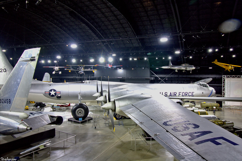 """National Museum of the United States Air Force, Dayton, Ohio,   04/13/2019  Overview of the """"Cold War"""" Gallery    Convair B-36J Peacemaker c/n 361  52-2220   Grumman J2F-6 Duck C/N 33587  33587   (painted as OA-12 8563)  This work is licensed under a Creative Commons Attribution- NonCommercial 4.0 International License."""