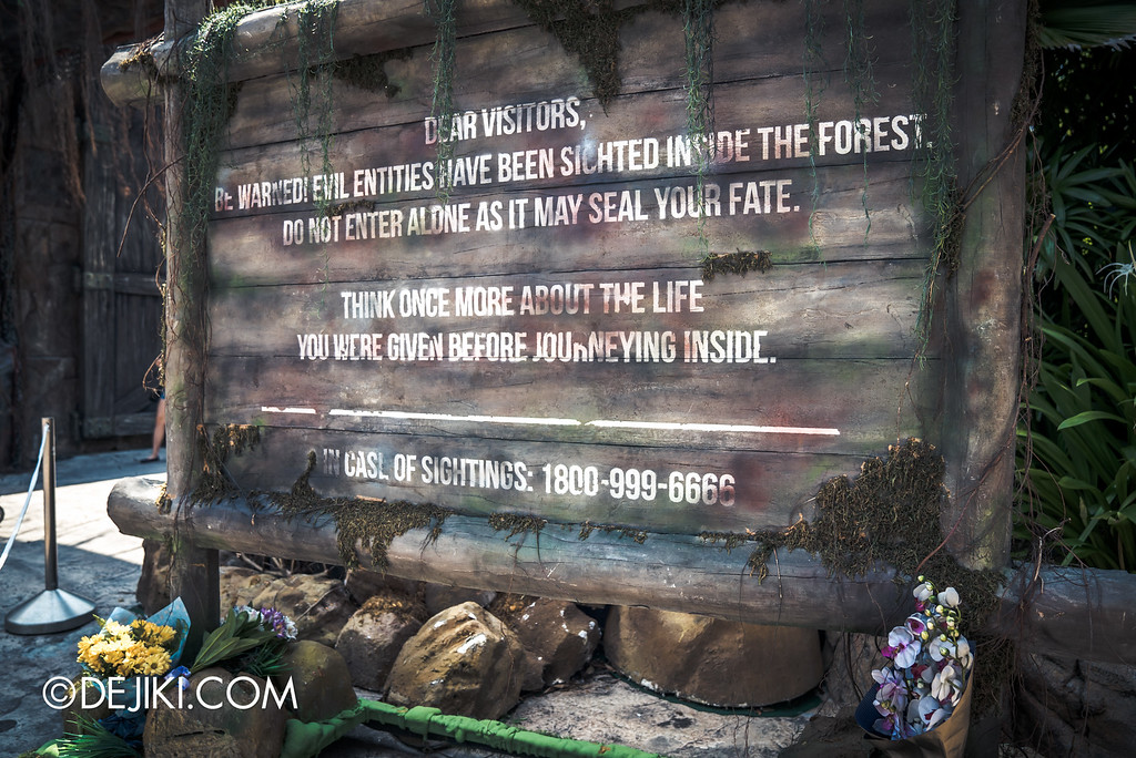 Universal Studios Singapore - Halloween Horror Nights 6 Before Dark Day Photo Report 4 - Suicide Forest scare zone / signage with flowers