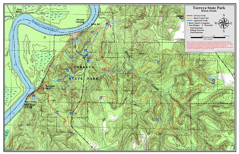 """Topo map jpg-ed from: https://www.floridastateparks.org/sites/default/files/Division%20of%20Recreation%20and%20Parks/documents/Topo%20Trail%20Map%20Torreya_111705.pdf If that link fails, try Googling """"torreya state park contour map pdf"""""""