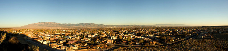 Panoramic view from Petroglyphs National Monument over suburban Albuquerque