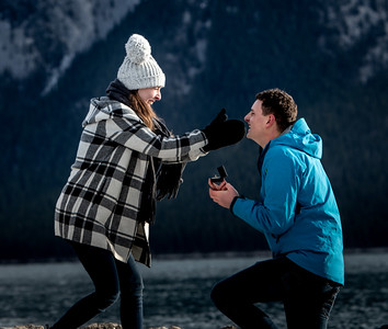 Katie and Dan Secret Proposal in Banff