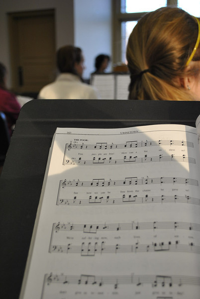 2-1-13: Cast members of the musical, Urinetown, rehearse music.
