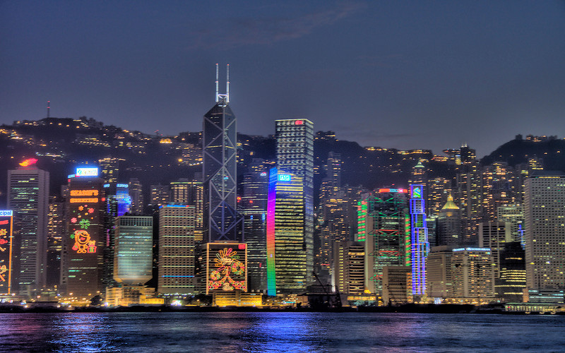 Victoria Harbour Skyline, Hong Kong, China (HDR Image)