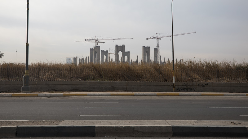 The abandoned construction site of the Grand National Mosque. It was to be the largest mosque in the world but the 2003 US-led invasion halted its progress.