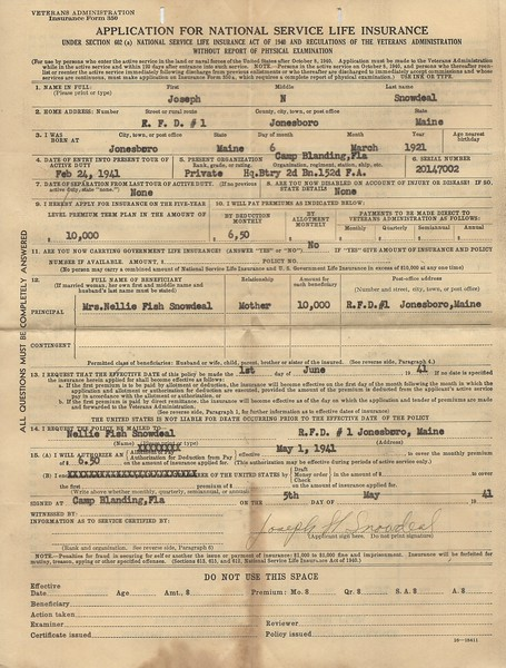 Original Life Insurance Application from May 5 1941