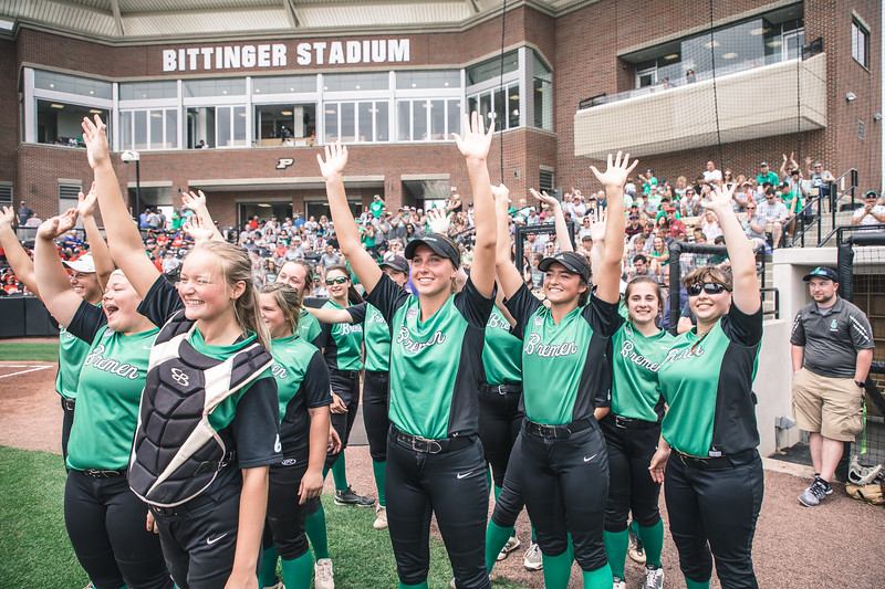 Bremen players salute the fans before the Bremen vs. Tecumseh state championship game on Saturday, June 8, 2019 at Bittinger Stadium.