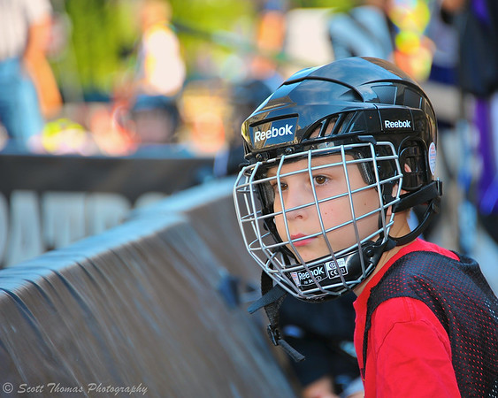A boy waits for his line to be called at the Street Crunch game outside the War Memorial Arena in Syracuse, New York on Saturday, July 26, 2014.