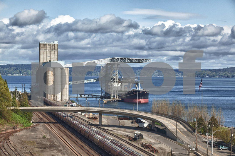 Grain terminal in Commencement Bay, Tacoma, Washington State.
