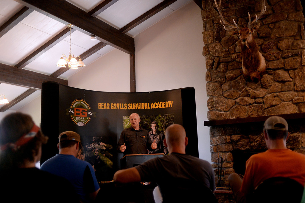 . WARD, CO - JUNE 10: North American representative Alan Pratt introduces students to the class. Bear Grylls survival school at Glacier View Ranch near Ward, Colorado on Tuesday, June 10, 2014. (Photo by AAron Ontiveroz/The Denver Post)