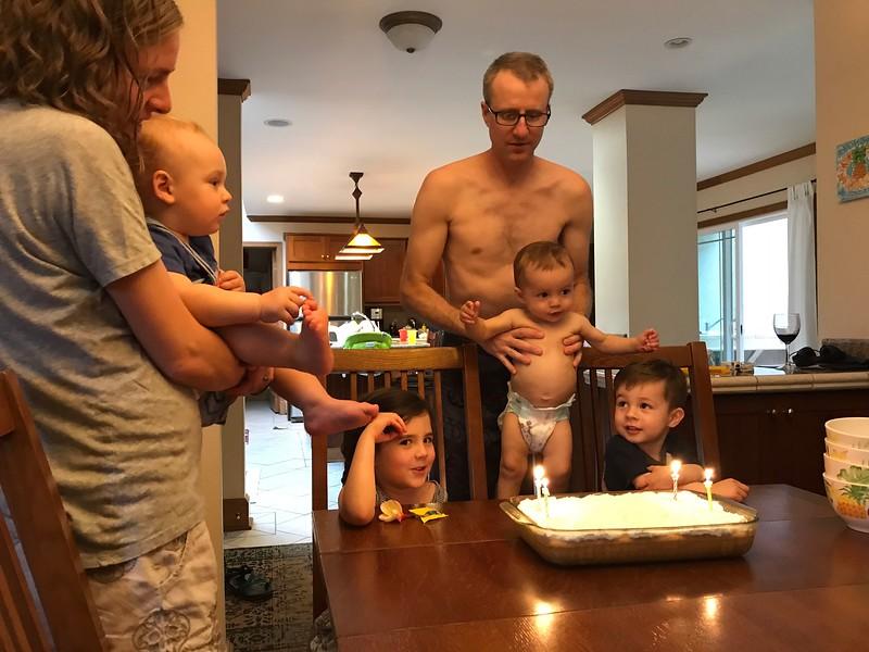 March birthdays celebration with tres leches cake for Leif, Kjirsten, Asher, Malia