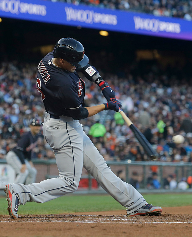 . Cleveland Indians\' Brandon Guyer hits an RBI triple during the third inning of a baseball game against the San Francisco Giants in San Francisco, Tuesday, July 18, 2017. (AP Photo/Jeff Chiu)