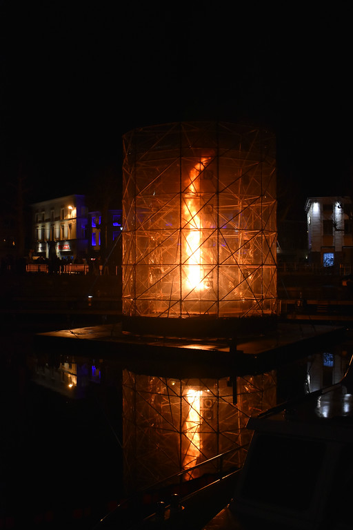 Ghent Light Festival Art installation Large Fire Tornado by Dutch artist Ivo Schoofs