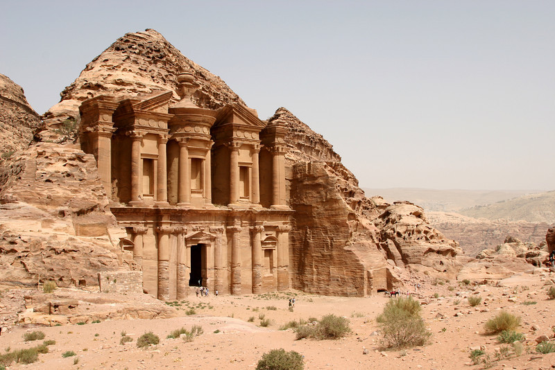 Petra - The Monastery (Al-Deir) is located in the hills above Petra and is a 40 minute walk up an ancient rock-cut path of more than 800 steps.  The courtyard in front of The Monastery was once surrounded by columns and was probably used for sacred ceremonies.