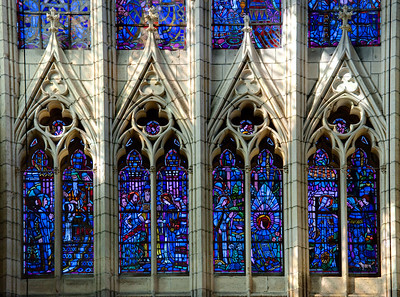 Soissons Cathedral - Lancet Windows - Presentation in the Temple, Marriage of the Virgin, Annunciation, Visitation
