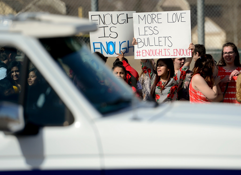 . Skyline High School students hold signs and chant while protesting on Pace Street in Longmont, Colorado on March 14, 2018. (Photo by Matthew Jonas/Staff Photographer)