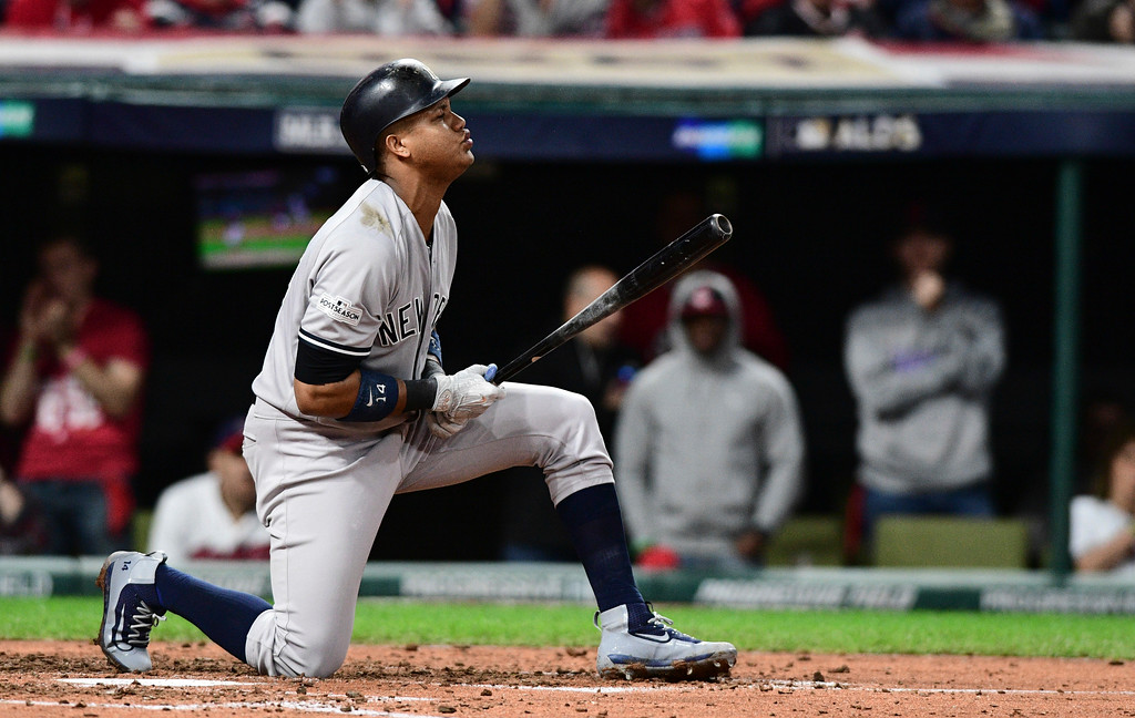 . New York Yankees\' Starlin Castro reacts after striking out against Cleveland Indians starting pitcher Corey Kluber in the fourth inning of Game 5 of baseball\'s American League Division Series, Wednesday, Oct. 11, 2017, in Cleveland. (AP Photo/David Dermer)