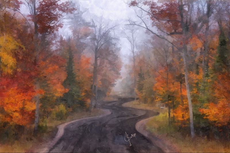 Winding Road on a Foggy Morning