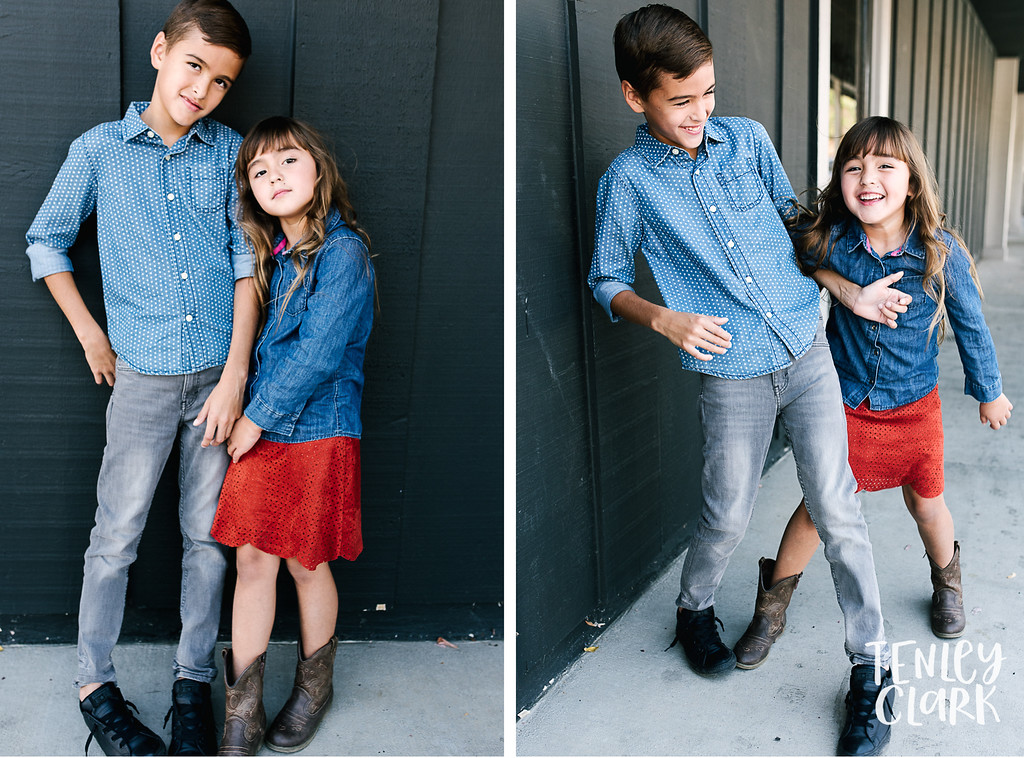 Downtown Pleasanton, CA kids model headshots for JE Model by Tenley Clark Photography. Siblings gray wall.