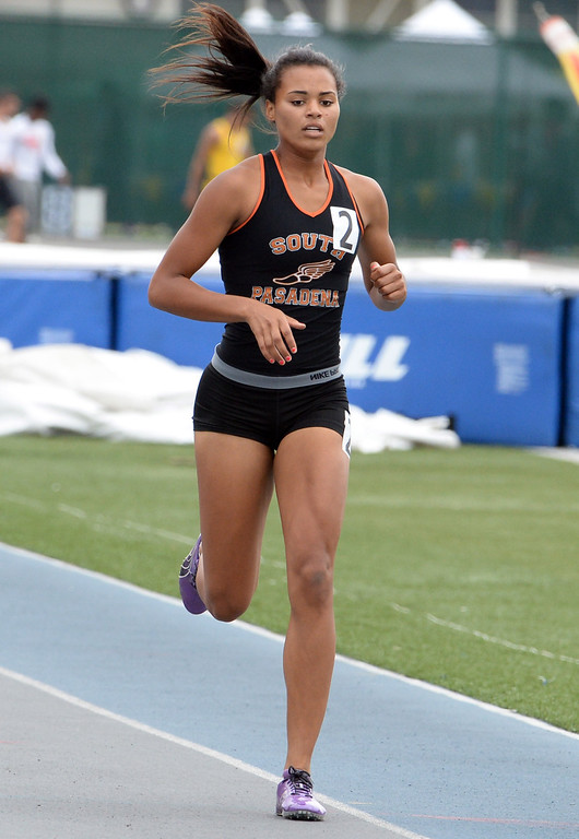 . South Pasadena\'s Jazmin Jackmon competes in the division 3 400 meters race during the CIF Southern Section track and final Championships at Cerritos College in Norwalk, Calif., Saturday, May 24, 2014.   (Keith Birmingham/Pasadena Star-News)