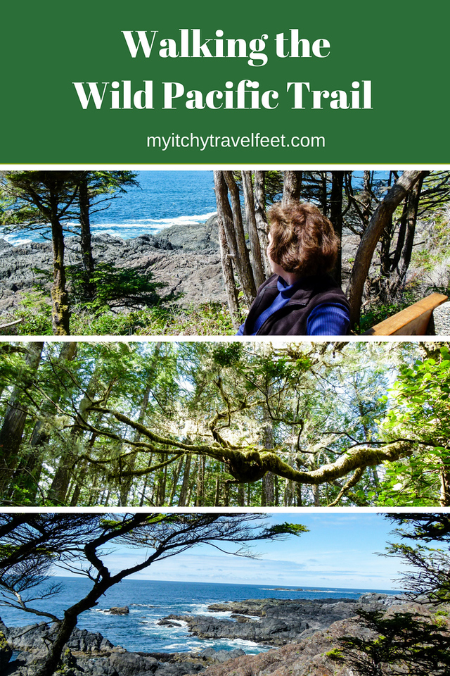 Text on photo: Walking the Wild Pacific Trail. Photo collage: woman resting on a bench, treetops, coastal view