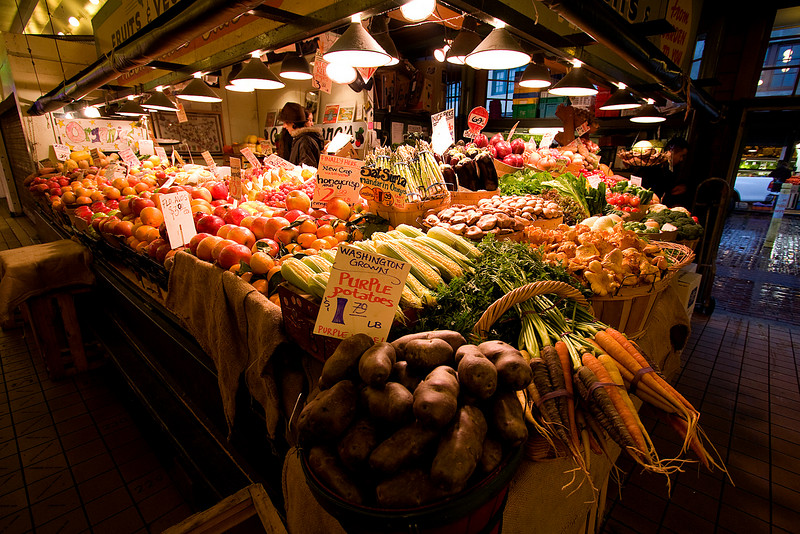 Fresh produce is plentiful at Pike Place Market.