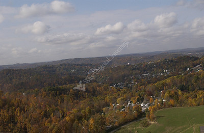 23317 Aerial photos Coopers Rock and Evansdale Downtown campus fall leaves