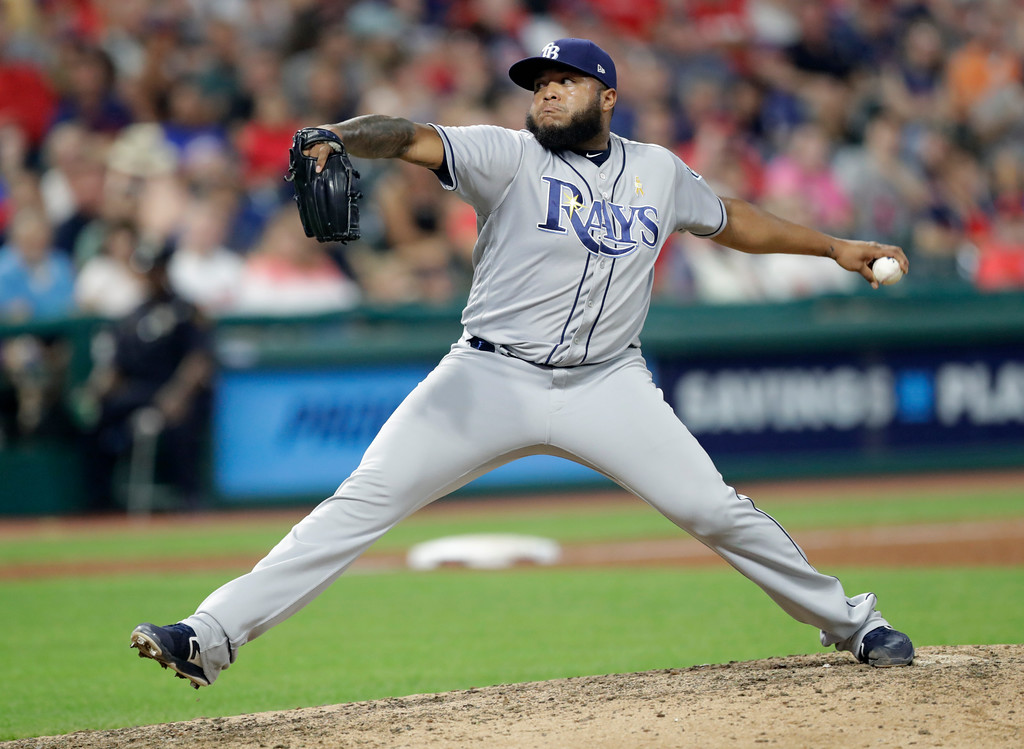 . Tampa Bay Rays relief pitcher Jose Alvarado delivers in the seventh inning of a baseball game against the Cleveland Indians, Saturday, Sept. 1, 2018, in Cleveland. (AP Photo/Tony Dejak)