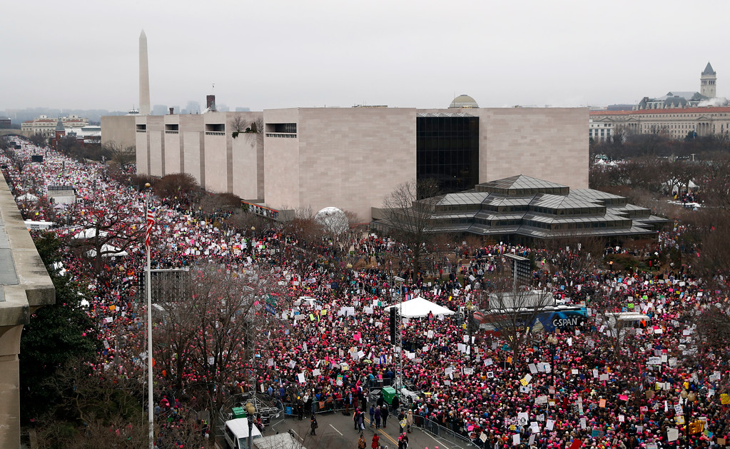 . A crowd fills Independence Avenue near the Capitol and National Mall during the Women\'s March on Washington, Saturday, Jan. 21, 2017 in Washington. (AP Photo/Alex Brandon)