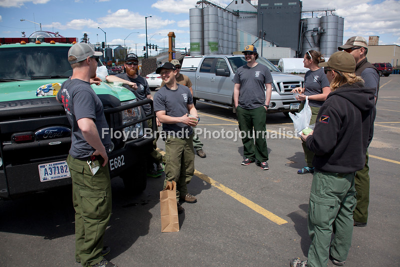Havre Daily News/Floyd Brandt  U.S. Forestry Fire Fighters stop at Gary's & Leo's for lunch Monday Fire Fighters on a long trip from Kalissell to Minnasota to help in a prescribed burning stopped for a quick bite to eat on theur long trip at IGA Grocery Store.