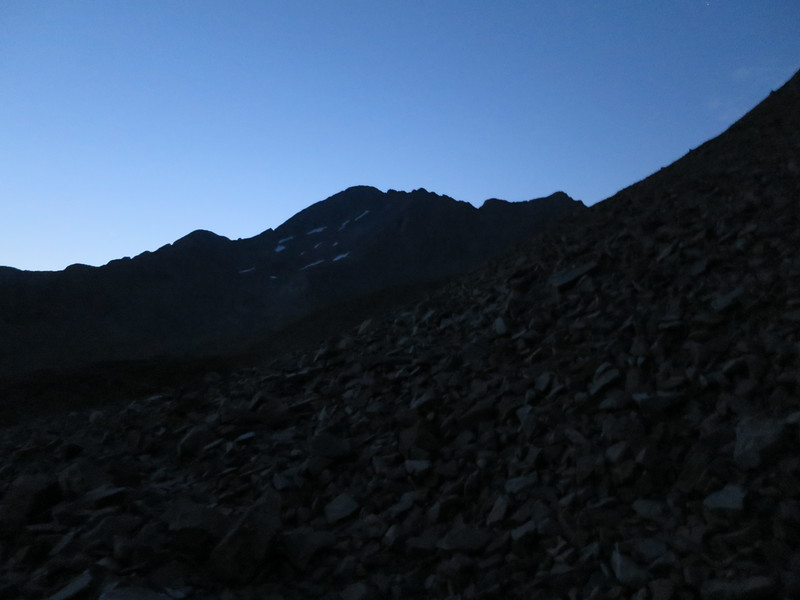 Close to sunrise around 6 am. .. Wilson Peak in the center of the shot.